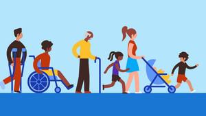 Ilustración de Google Maps con personas en sillas de ruedas, muletas y carritos de bebé