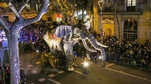 Cabalgata de los Reyes Magos en Sants, en enero del 2014.