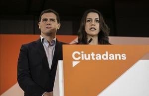 Los líderes de Ciudadanos, Albert Rivera e Inés Arrimadas.