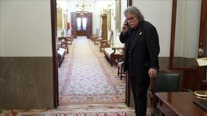 El portavoz de ERC en el Congreso,Joan Tardà,a su llegada a la Junta de Portavocesesta manana en el Congreso de los Diputados.