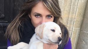 Liz Hurley con su labrador, Hector.