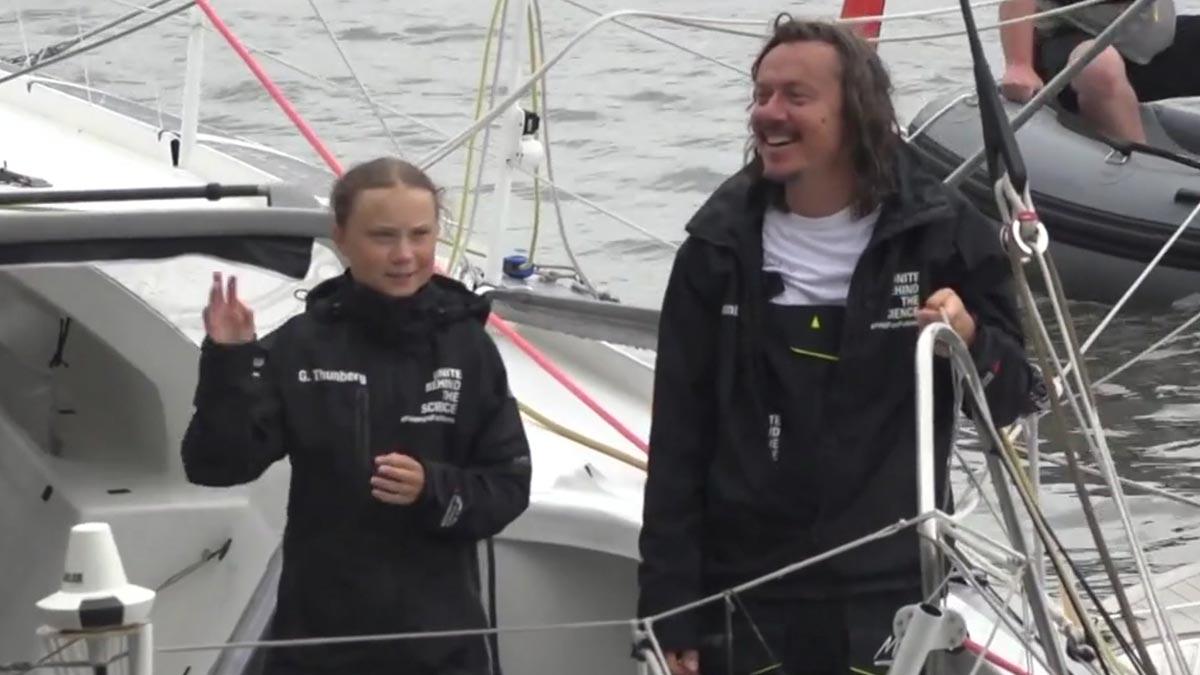 Llegada de Greta Thunberg a Nueva York tras dos semanas de travesía.