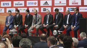 Los protagonistas de la cita europea, en la rueda de prensa oficial en Madrid