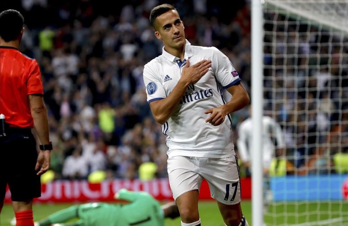 Lucas celebra un gol marcado ante el Legia el pasado 18 octubre en el Bernabéu.