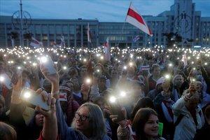 Manifestación contra el presidente Lukashenko en Minsk.