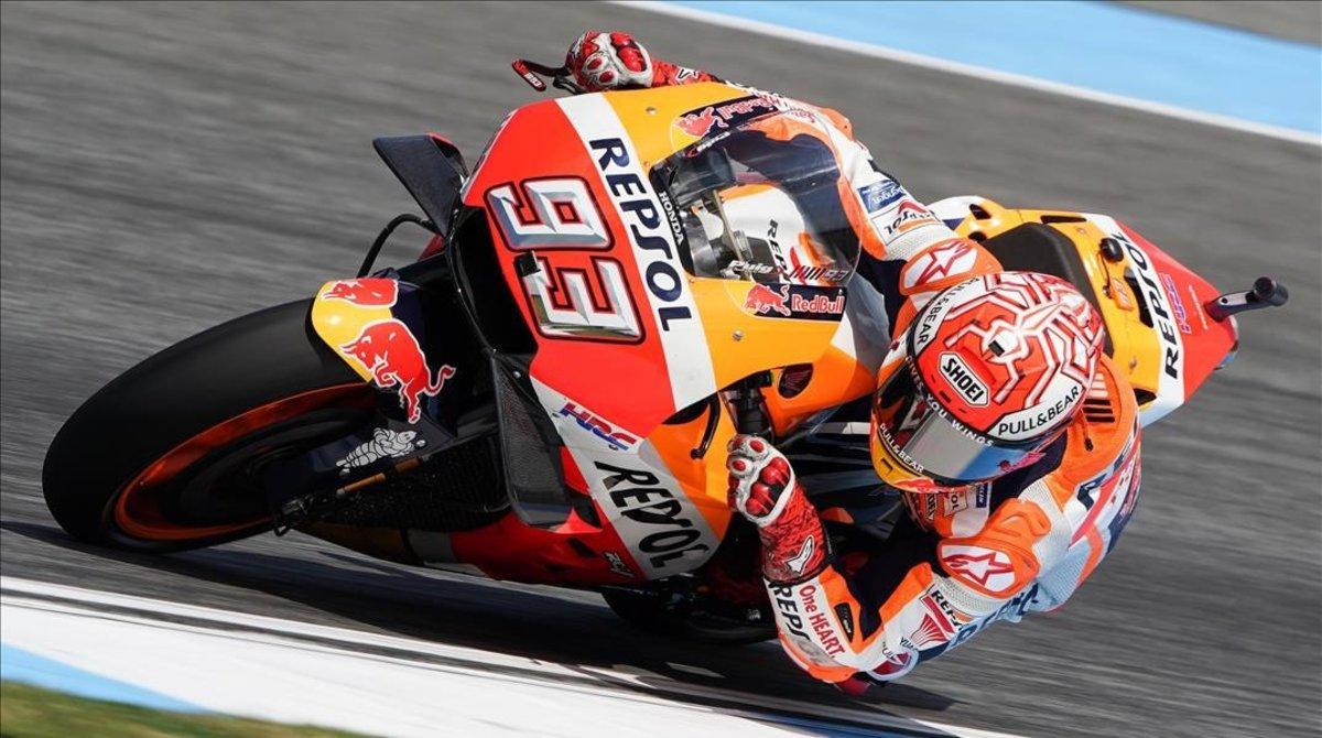 Marc Márquez (Honda),en su vuelta rápida de hoy en el circuito tailandés de Buriram.