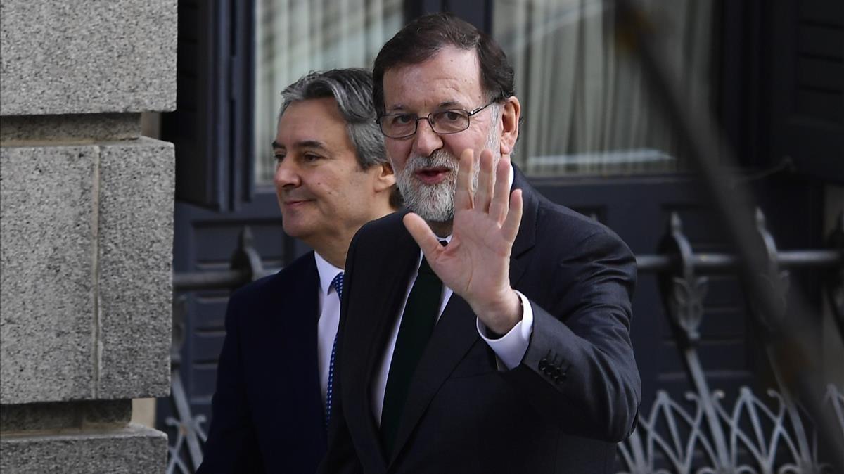 Mariano Rajoy, el viernes, llega al Congreso para la votación de la moción de censura.