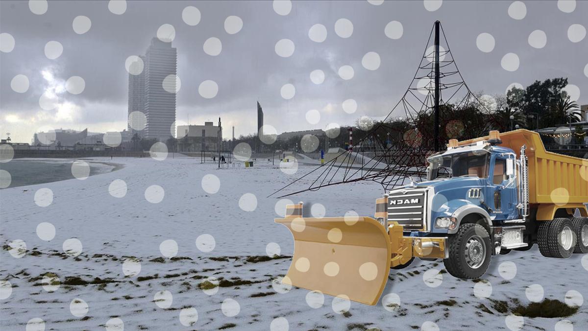 Una nieve granulada se deja ver en toda Barcelona y cuaja hasta en la playa.