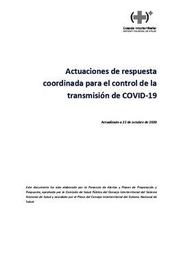 Nuevas actuaciones frente al covid, acordadas por el Consejo Interterritorial del Sistema Nacional de Salud (CISNS) de este 22 de octubre.