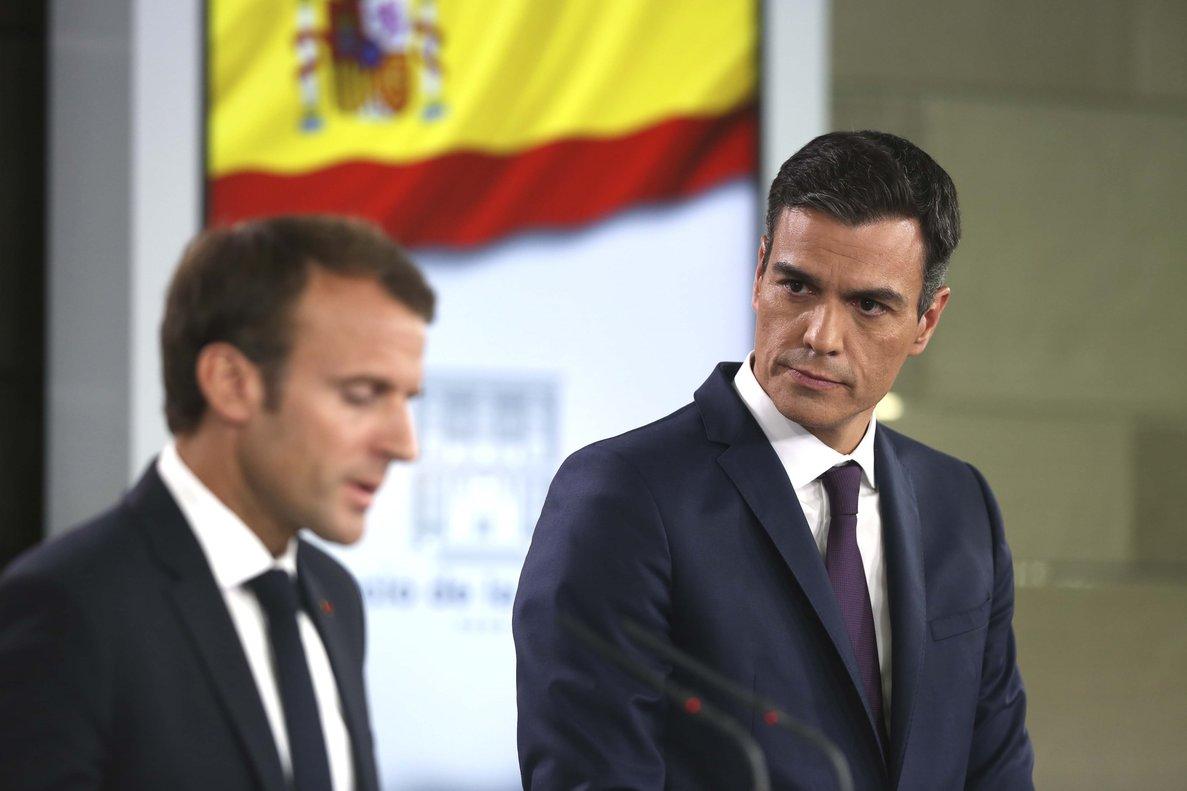 Pedro Sánchez y Emmanuel Macron durante la visita del presidente francés a España, el pasado julio.