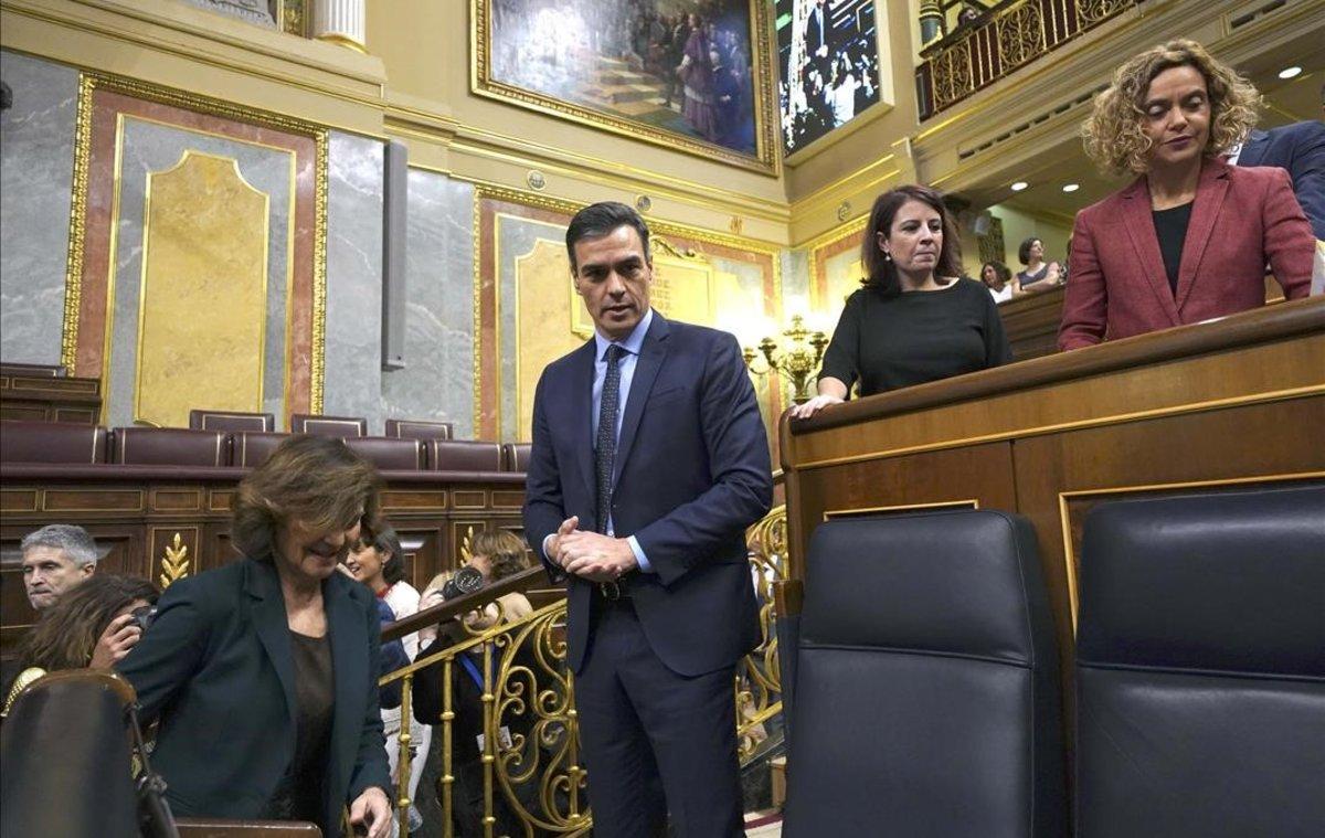 Pedro Sánchez, en la sesión de constitución de las Cortes.