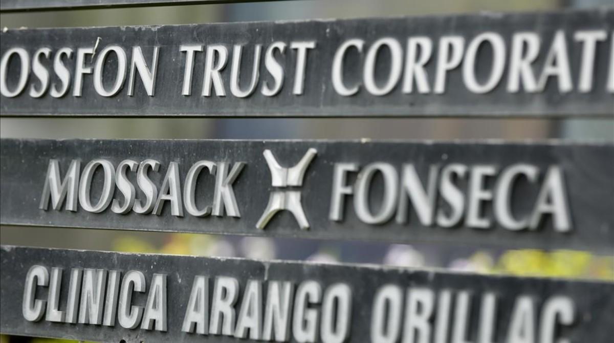 Placa del despacho de Mossack Fonseca en Panamá.