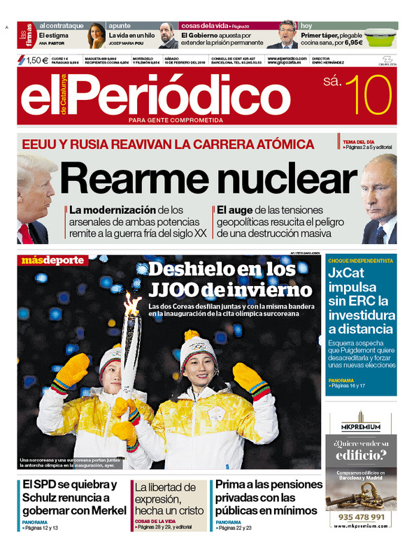 La portada de EL PERIÓDICO del 10 de febrero del 2018