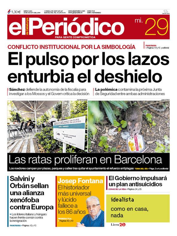 La portada de EL PERIÓDICO del 29 de agosto del 2018