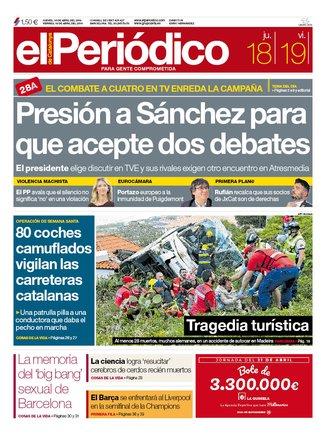 La portada de EL PERIÓDICO del 18 de abril del 2019