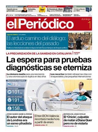 La portada de EL PERIÓDICO del 1 de diciembre del 2019