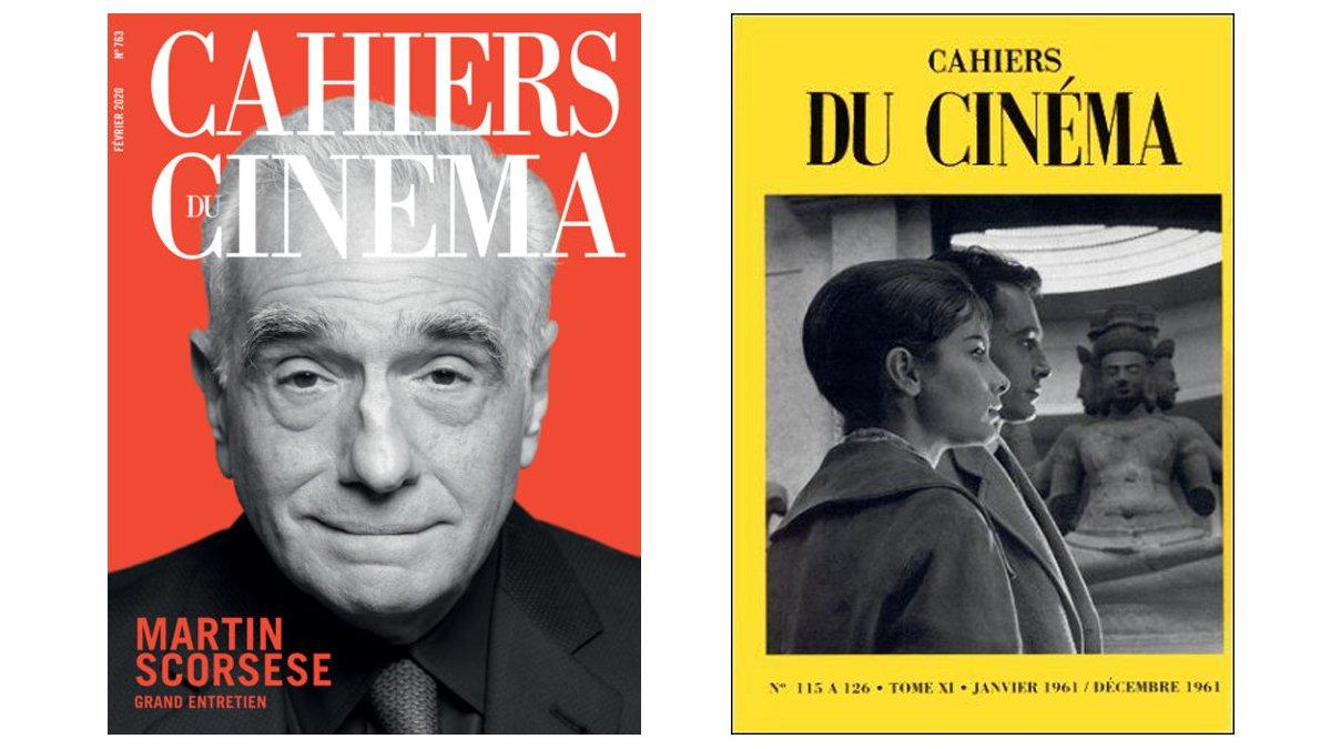 A la izquierda, la última portada de 'Cahiers du Cinéma'. A la derecha, una de las portadas históricas de la revista.