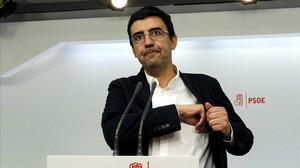 El portavoz de la gestora del PSOE, Mario Jiménez, el pasado 10 de octubre en la sede del partido.