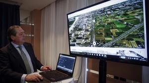 El presidente de AVE, Vicente Boluda, presenta el vídeo para reclamar el corredor mediterráneo.