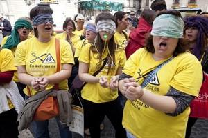 RECORTES Protesta contra los recortes, en el 2012, en Barcelona.