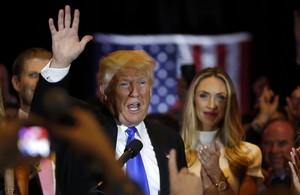 Republican U.S. presidential candidate and businessman Donald Trump waves after speaking to supporters after his rival, Senator Ted Cruz, dropped out of the race for the Republican nomintion following the results of the Indiana state primary, at Trump Tower in Manhattan, New York, U.S., May 3, 2016. REUTERS/Lucas Jackson