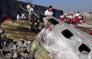 Restos del avión ucraniano derribado por un misil iraní el pasado miércoles.