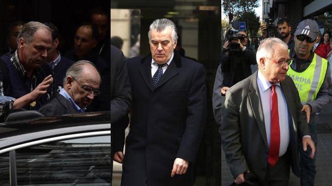 Rodrigo Rato y Luis Bárcenas (PP), y Andreu Viloca (CDC) han sido encausados en diferentes procesos judiciales.