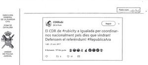 El tuit del CDR de Rubí que apareix a linforme de la Guàrdia Civil.