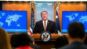 El secretario de Estado de EEUU, Mike Pompeo, durante la rueda de prensa en la que ha anunciado el veto al personal del Tribunal Penal Internacional.