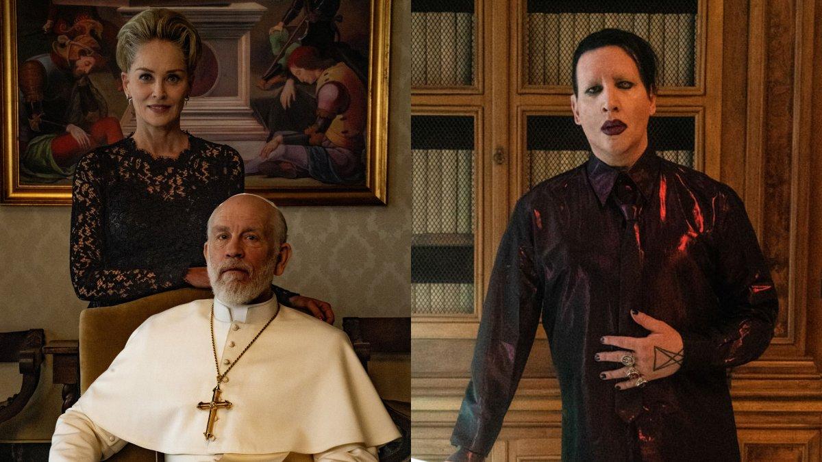 Sharon Stone y Marilyn Manson en el rodaje de 'Tne new pope'.