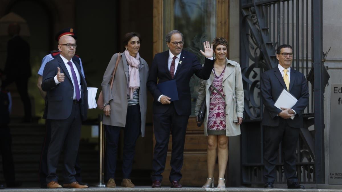 El president Torra entrando en la Audiencia de Barcelona donde prestó declaración.