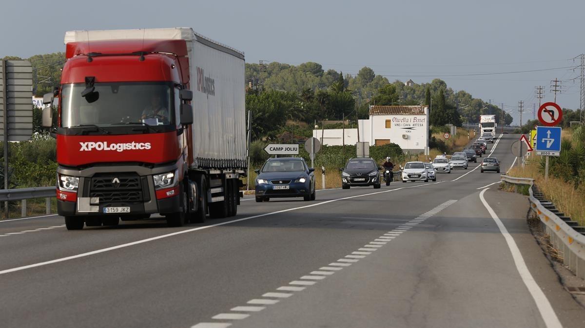 Tramo de la N-340 entre Vilafranca del Penedès y Salou.