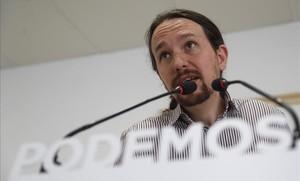 El líder de Podemos, Pablo Iglesias, durante la rueda de prensa sobre lamoción de censura.