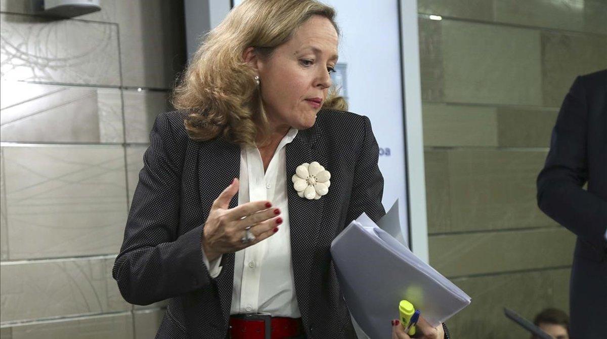 La ministra de Economía, Nadia Calviño, este viernes en la Moncloa.