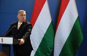 Viktor Orbán, el 10 de abril en Budapest, dos días después de ganar las elecciones legislativas de Hungría.