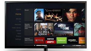 Diferentes aplicaciones de plataformas de televisión por internet, en la pantalla de un televisor.
