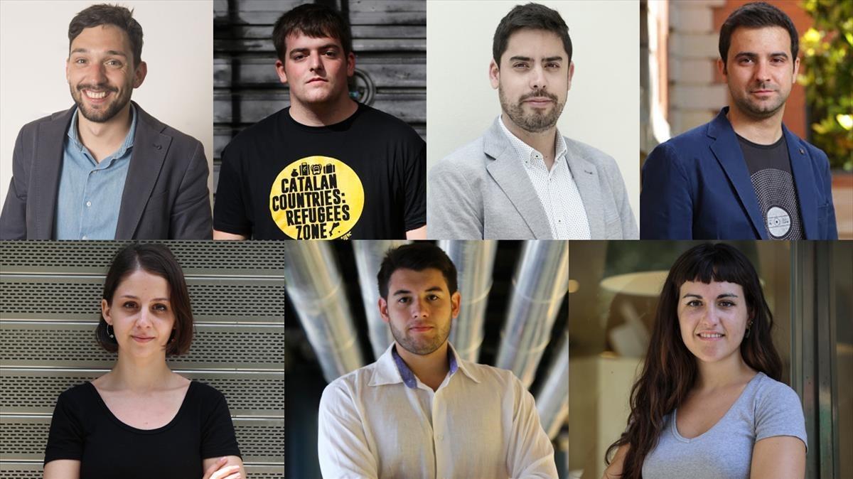 De izquierda a derecha, Sergi Miquel (JNC), Pau Morales (JERC), DavidMejía(Ciutadans), Pol Gibert (JSC), Montserrat Mompió (JEV), Carlo Angrisano (Nuevas Generaciones) y Mar Ampurdanès (Arran).
