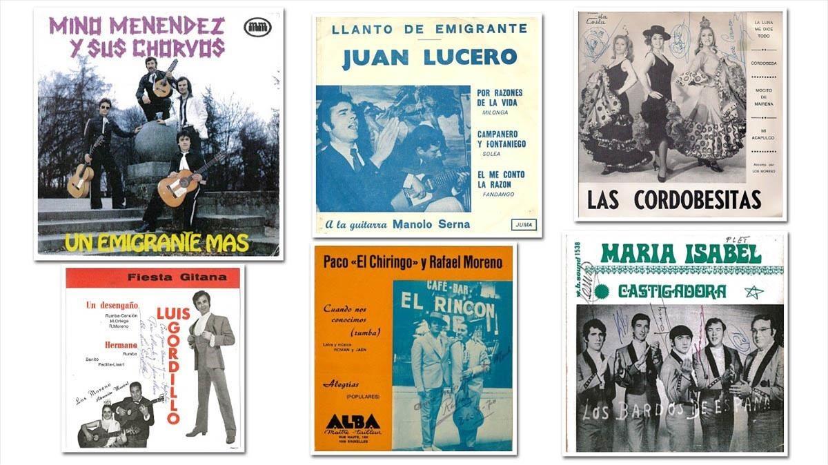 Portadas de algunos singles rescatados por Miguel Menéndez en Bruselas.