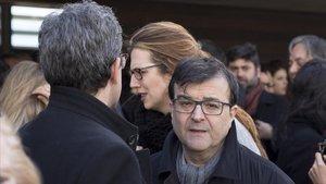 Javier Cercas, en el funeral de Claudio López de Lamadrid, este lunes.