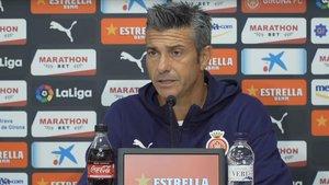 El entrenador del Girona, durante la rueda de prensa previa a la visita del Tenerife.