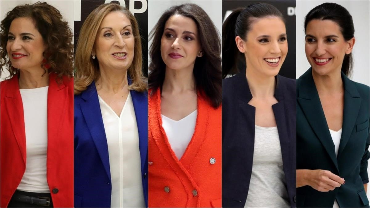 Maria Jesus Montero, Ana Pastor, Ines Arrimadas, Irene Montero y Rocio Monasterioen el debate de ayer