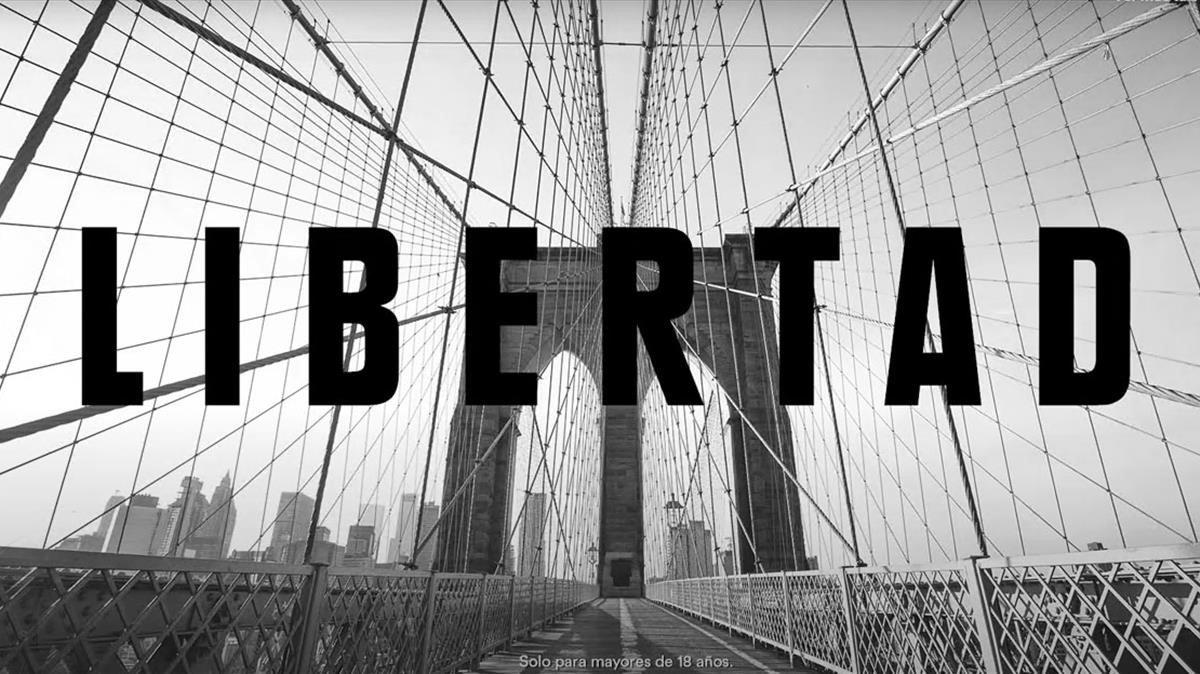 Anuncio de Seagram que reclama libertad sobre fotos de ciudades vacías.