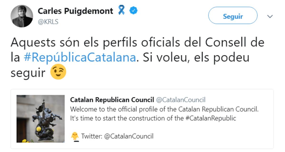 Mensaje de Puigdemont anunciando la cuenta del Consell de la República.
