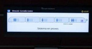 Así es la pantalla que muestra el grado de ocupación de los vagones.