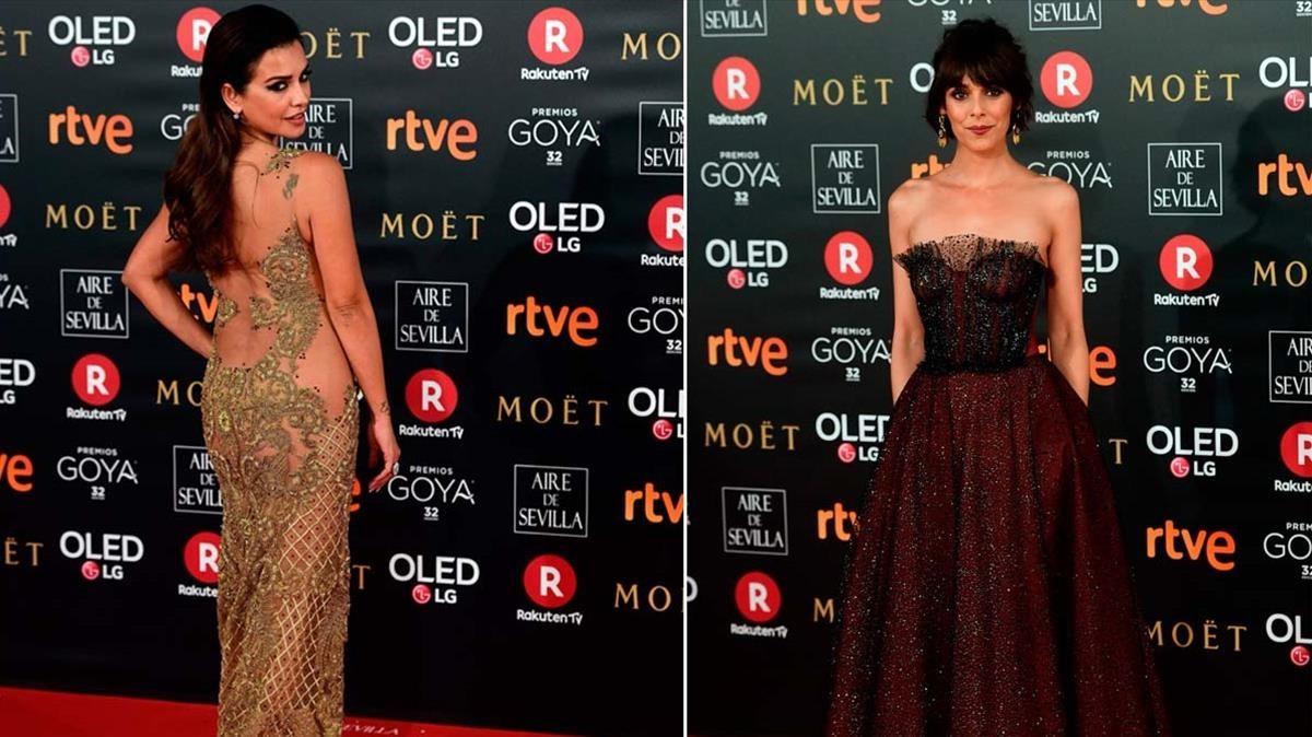 La alfombra roja de losPremios Goya 2018desafía al frío, Mónica Cruz y Belén Cuesta.