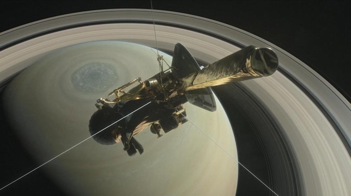 Simulación de la sonda espacial Cassini durante la fase final de acercamiento a Saturno.