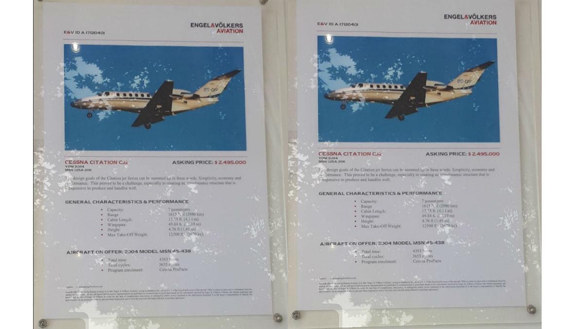 Anuncio de una inmobiliaria sobre la venta de un avión.
