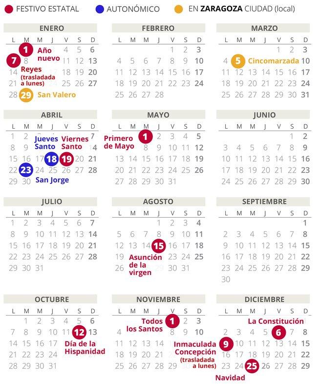 Calendario laboral de Zaragoza del 2019 (con todos los festivos)