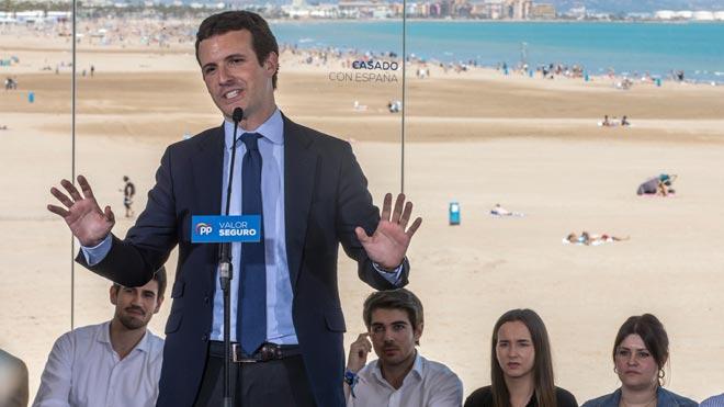 Casado, se ha dirigido directamente a los simpatizantes de Vox y Ciudadanos para advertirles de que votar a estos partidos será un favor a Pedro Sánchez.
