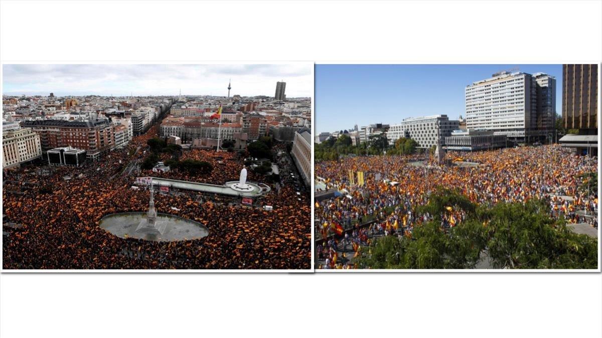 A la izquierda, una imagen de la manifestación de este domingo. A la derecha, la concentración del 2017.